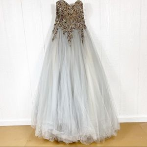 Terani Couture Silver Strapless Prom Dress Size 2
